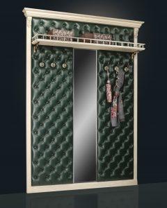 Вешалка с 6 кр. с узким зеркалом с полкой Б5.10-3 карамель 2