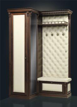 Прихожая угловая с зеркалом и шкафом Б5.8-6 карамель 1