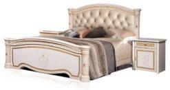 Кровать Карина-3 (2 спинки) беж с мягкой спинкой 1