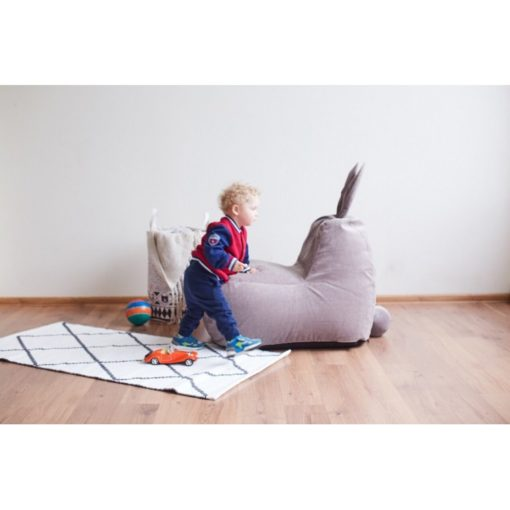 Детский бескаркасный пуф-заяц (велюр)
