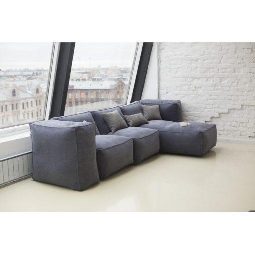 Бескаркасный модульный диван с подлокотниками-пуфами