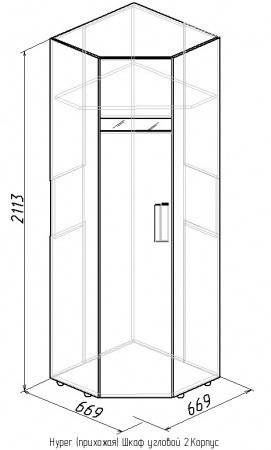 Шкаф угловой-2 Hyper 3