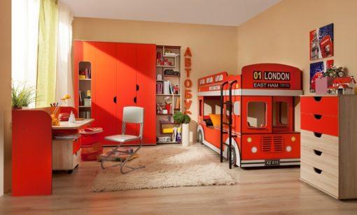 Шкаф для белья-5 Автобус красный 2