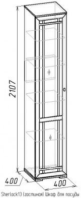 Шкаф для посуды-13 Sherlock дуб 2
