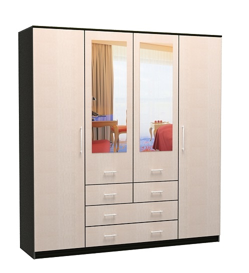 Шкаф 4-х дверный 4 ящика 1