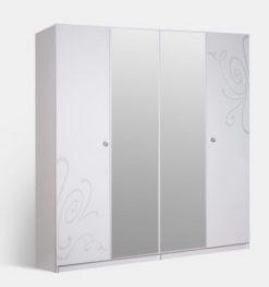 Шкаф 4-х ств. Европа-9 с зеркалами (белый) 1