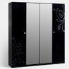 Шкаф 4-х ств. Европа-9 с зеркалами (черный) 1