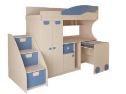 Детская № 4.4.2 + выкатной стол + тумба с откидными крышками (синий) 1