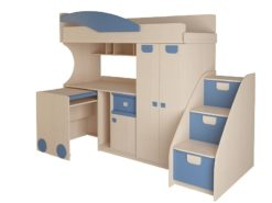 Детская № 4.4.2 + выкатной стол + тумба с откидными крышками (синий) 2