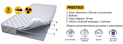 Матрас пружинный гипоаллергенный PRESTIGE 2