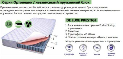 Ортопедический матрас DE LUXE PRESTIGE + зима-лето 2