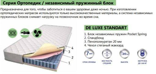Ортопедический матрас DE LUXE STANDART 2