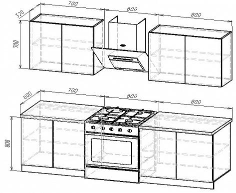 Кухонный гарнитур на 2100мм 3