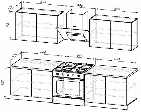 Кухонный гарнитур на 2200мм 3