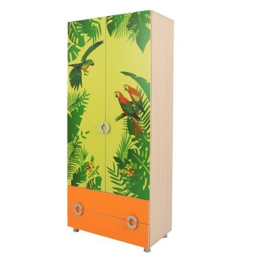 Шкаф 2 ств. Маугли (принт джунгли) 2
